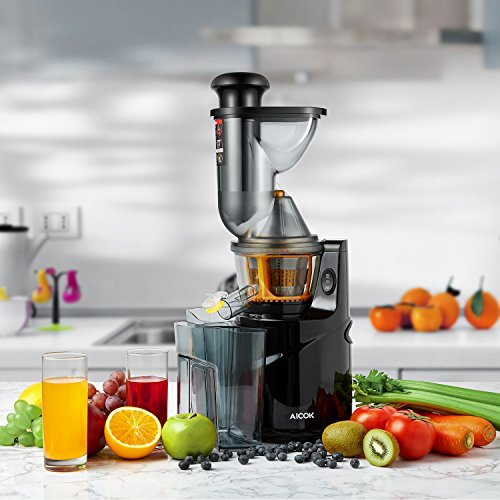 Aicok Juicer, Whole Slow Masticating Juicer, 75MM Wide Mouth Fruit and vegetable Juice Extractor ...