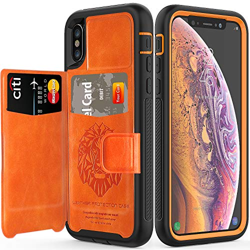 (iPhone Xs Case with Card Holders,SXTech (Leather Case Series) Slim Yet Protective with Kickstand.Built-in Magnetic Backing and Shorkproof Cover Fit for Apple iPhone X iPhone 10 Wallet Case-Orange)
