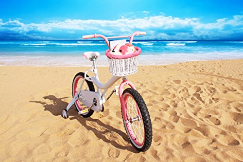 Colorbasket 01532 Kids Front Handlebar Wicker Bike Basket, Leather Straps, White with Pink Trim