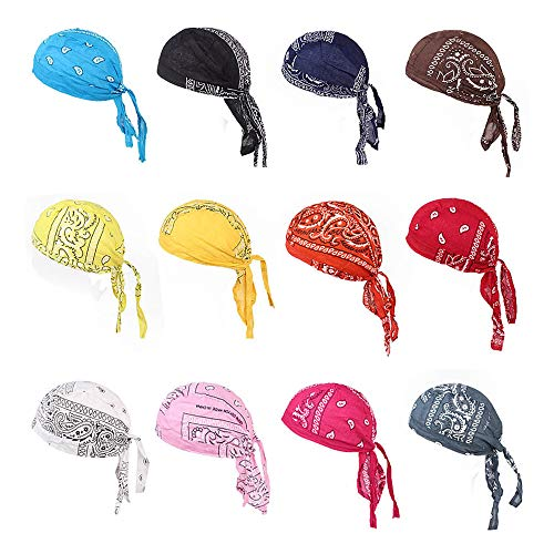 Wcysin 5 Pieces Breathable Bandana Hat Cotton Durag do doo du rag headwrap Pirate Cap Random Color -