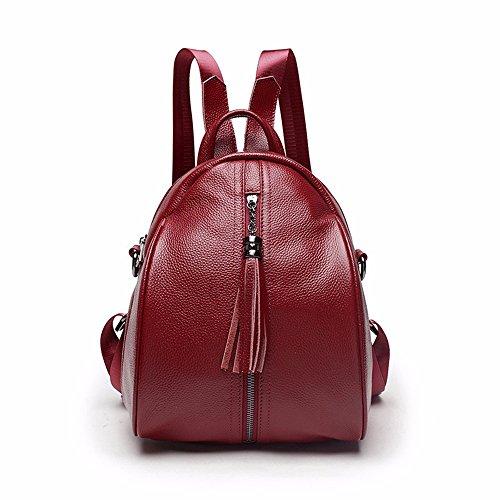 Leder Tasche Leder Double Shoulder Bag fashion 100-lap Personalisierte multifunktionale Rucksack, 25 * 9 * 26 cm Wein rot