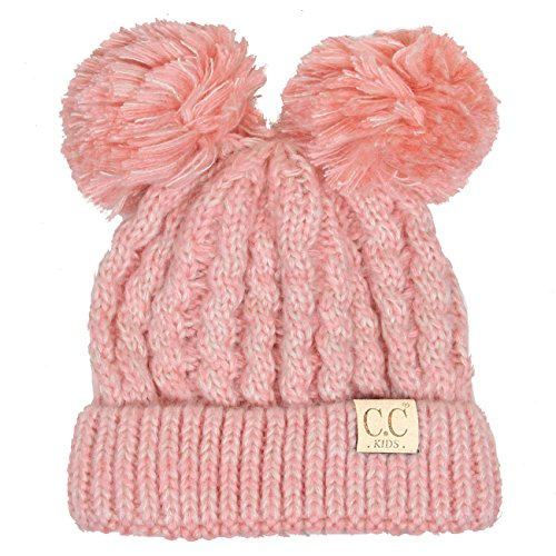 (ScarvesMe CC Children Kids Girl Boy Ages 2-7 Two Tone Knitted Chunky Thick Stretchy Solid Color Pom Pom Beanie)