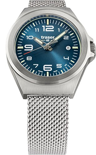 traser P59 Essential S Blue Dial Milanese Stainless Steel Band Unisex Watch 108203