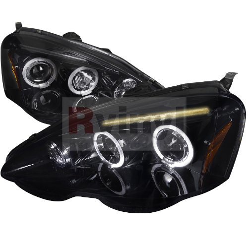 (Spec-D Tuning 2LHP-RSX02G-TM Acura Rsx Dual Halo Glossy Black Projector Headlights)