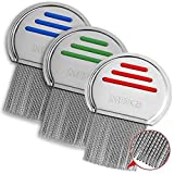 Lice Comb - (Pack of 3) Head Lice Treatment That's Individually Package to Prevent Contamination Professional Stainless Steel Louse and Nit Combs Removes Eggs with Rounded Tips for Comfort
