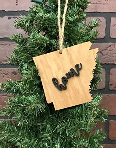 Arkansas State Natural Wood Ornament Keepsake Decoration Holiday Gift Home Ornie Party Favor