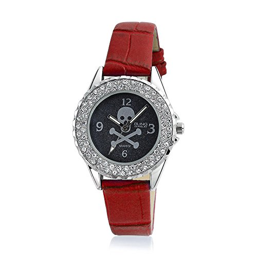 Bling Jewelry Skull and Crossbones Crystal Round Red Watch Stainless Steel Back