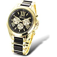 Takyae Luxury Womens Watch Fashion Gold Geneva Analog Quartz Man Watches Alloy Round Wristwatch Black