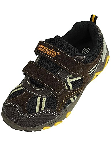 Coodo - Boy's Athletic Velcro Strap Light Weight Running Sneakers Shoes, Brown, Black 38384-12MUSLittleKid by COODO
