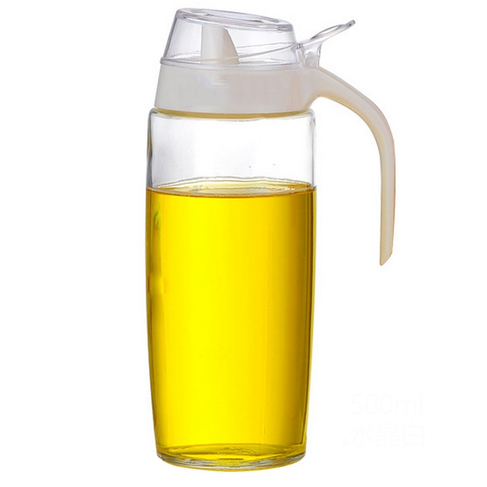 JUNGEN Oil Bottle for Cooking Clear Glass Bottle Soy Dispenser Vinegar Bottle 500ml (White) PRTAZI11A
