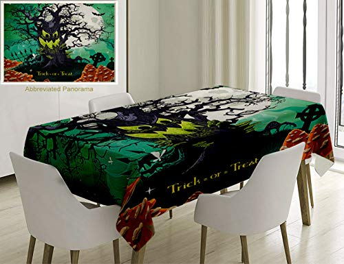 Unique Custom Cotton And Linen Blend Tablecloth Halloween Decorations Trick Or Treat Theme Dead Forest With Spooky Tree Graves Big Mushrooms Kids CartTablecovers For Rectangle Tables, 86 x 55 Inches ()