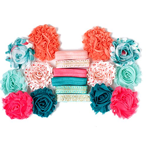 Be Teal My Heart : Coral & Mint Headband Kit MAKES 6 or 12 Hair Pieces : Shabby Chiffon Craft Roses FOE Fold Over Elastic : Princess Parties & Baby Showers Peach Pink