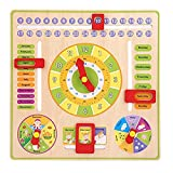 Beststar All About Today Calendar Board, Wooden Teaching Clock, Kids Early Educational Multifunctional Time Date Season Weather Game Toys for Toddlers Boys and Girls Over 3 Year Olds#3226