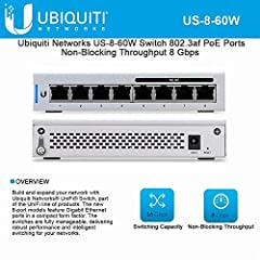 UniFi US-8-60Wmodel features Gigabit Ethernet ports in a compact form factor. The switches are fully manageable, delivering robust performance and intelligent switching for your growing networks. The switch offers the forwarding capacity to ...