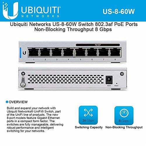 UniFi US-8-60W 8-Port Gigabit PoE Compliant Managed Switch by Ubiqui Network