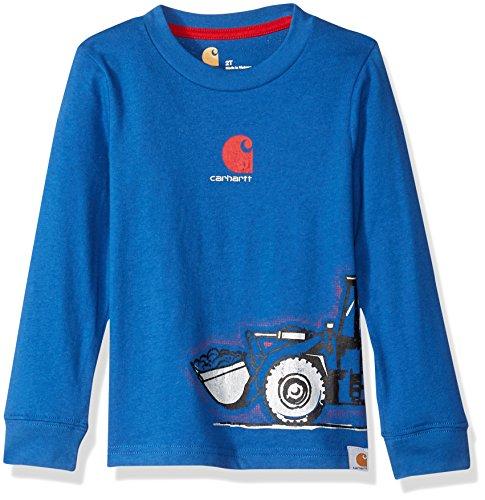 (Carhartt Toddler Boys' Long Sleeve Tee Shirt, Tractor Blue, 4T)