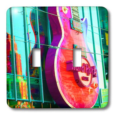 3dRose LLC lsp_59634_2 The Hard Rock Sign in Las Vegas Done in Pinks, Green and Purple with Guitar, Double Toggle -