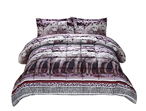 3 Piece Set Mountain Wolves Soft 3d Comforter Set (08) (Queen) (Bedroom Set Beautiful)