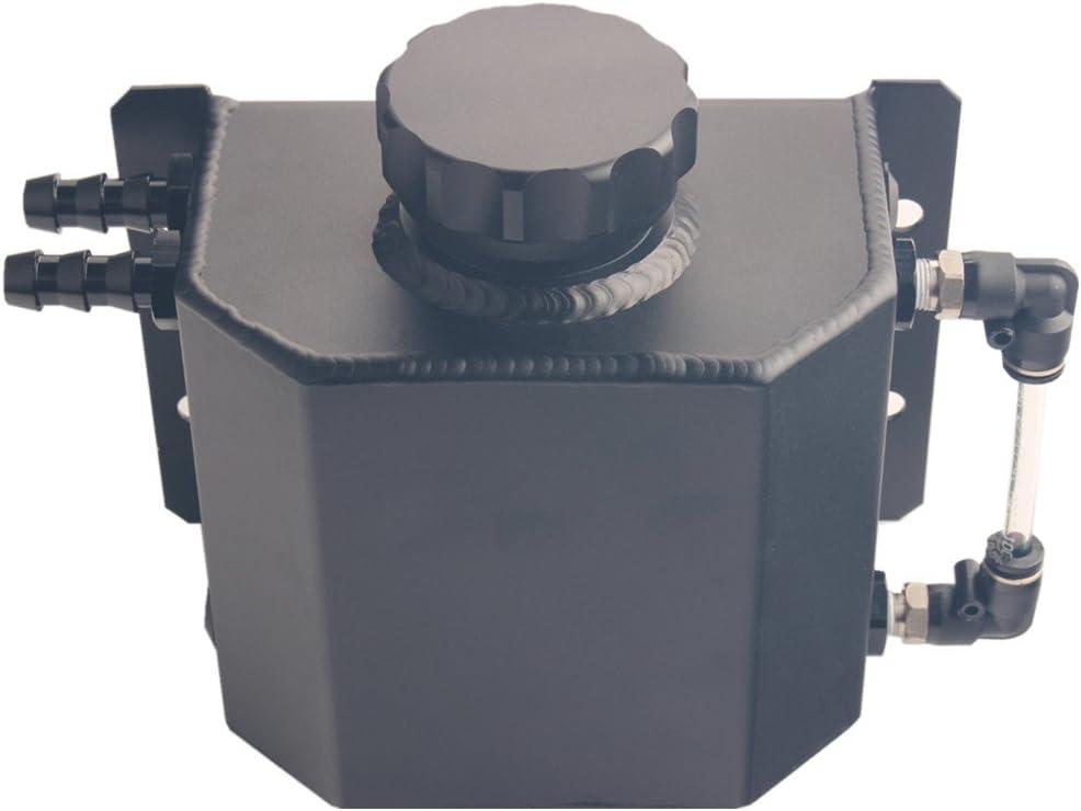 Dewhel JDM Universal 1L Coolant Radiator Overflow Recovery Water Tank Reservoir Bottle Polished Aluminum (Black)
