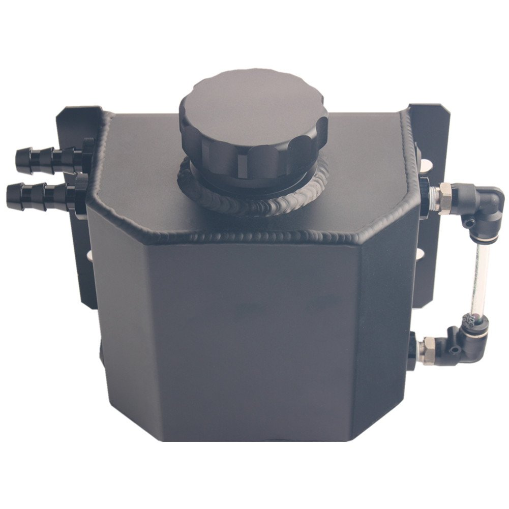 Dewhel Jdm Universal 1l Coolant Radiator Overflow Kia Rio Recovery Water Tank Reservoir Bottle Polished Aluminum Black Automotive