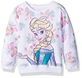 Disney Little Girls' Toddler Frozen Elsa Floral All Over Print French Terry Sweatshirt, White, 5T