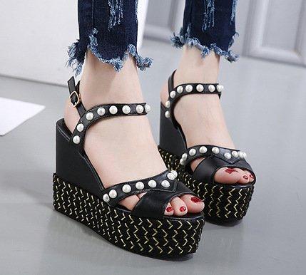 YCMDM Sandali inferiori spessi del tallone del pendio scarpe alte scarpe rilievo principessa banchetti , black , 36