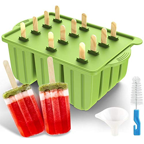 Silicone Popsicle Mold, 2020 Upgrade 12 Cavities Ice Pop Mold Frozen Ice Pop Maker for Homemade Popsicle Ice Cream DIY…