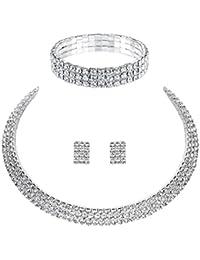 mecresh Wedding Bridal 1/2/3/4/5Row Rhinestone Crystal Jewelry sets for Women(1 Earrings&Necklace&Bracelet) 1yD5Wsk