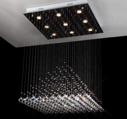 Cheap Siljoy Pyramid Crystal Chandelier Lighting Modern Rain Drop Design Ceiling Lighting Fixture W23.6″ x H27.5″