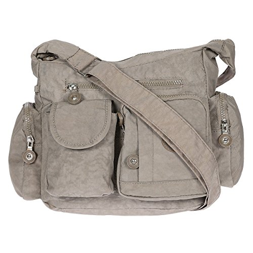 Christian Wippermann® - Bolso al hombro para mujer gris gris beige