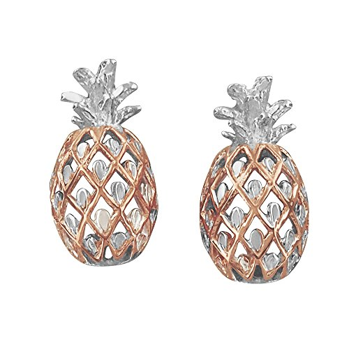 Sterling Silver with 14kt Rose Gold Plated Accents Pineapple Stud Earrings