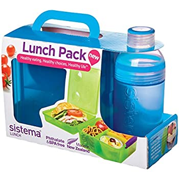 Sistema Lunch Pack with Lunch Cube Max and Trio Bottle, Multicolor