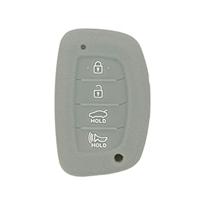 SEGADEN Silicone Cover Protector Case Skin Jacket fit for HYUNDAI 4 Button Smart Remote Key Fob CV4112 Gray: Automotive