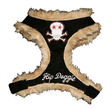 Hip Doggie HD-6BKFSK-S Small Black Fur Skull Harness Vest