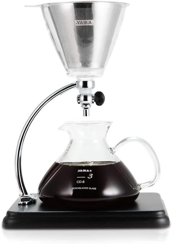 Yama Glass CD-8 silver Pour Over Coffee Maker, BLACK