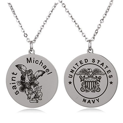 (FAYERXL St Michael The Archangel Marine Corps Air Force Army Navy Coast Guard Round Tag Necklace Military Religious Faith Gift (Saint Archangel Navy))