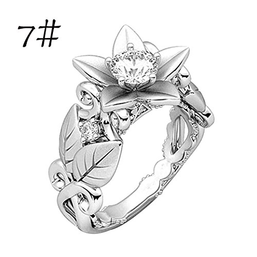 Sunward Crown Rings Floral Ring Rose Lucky Flower Leaf Diamond for Women Girl Size 5-10 (Silver, 7)