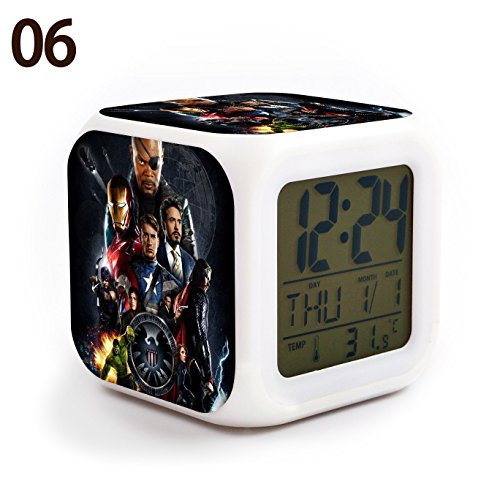 The Avengers Team Iron Man, Hulk, Captain America, Thor, Black Widow and Clint Barton 7 Colors Change Digital Alarm LED Clock Cartoon Night Colorful Toys for Kids (Style 6)