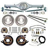 "NEW CURRIE X-BODY REAR END WITH FLANGED AXLES WITH CURRIE 11"" DRILLED DISC BRAKE KIT,PARKING BRAKE CABLE KIT,HARDLINE KIT,COMPATIBLE WITH CHEVROLET II 1962-1967,NOVA,WITH MONO-LEAF SPRINGS"