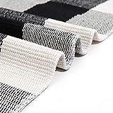 SEEKSEE 100% Cotton Plaid Rugs Black/White