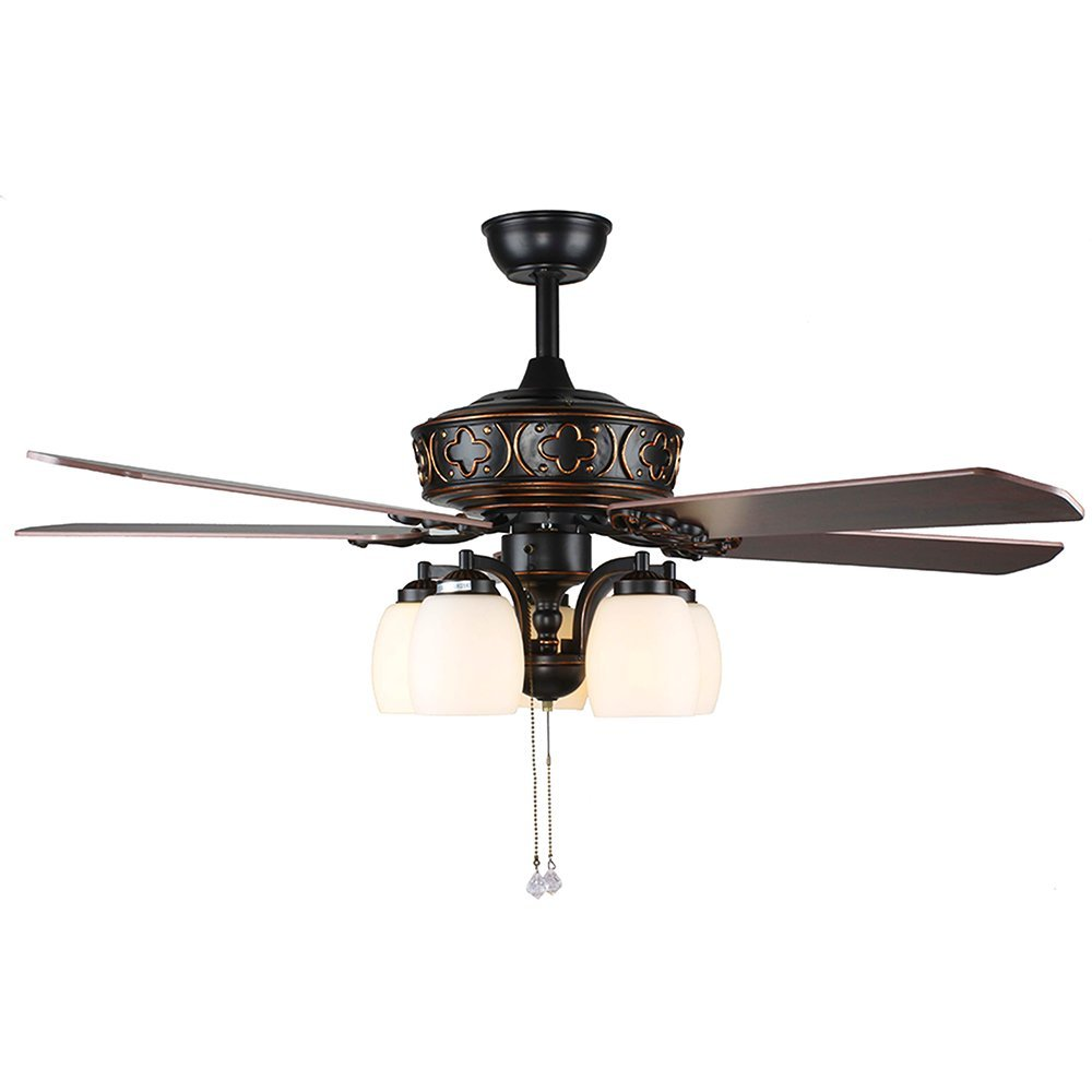 Tropicalfan Retro Ceiling Fan With 5 Light Cover Home Decotation For Living Room Bedroom Silent Windward Fans Chandelier 5 Wood Blade 52 Inch