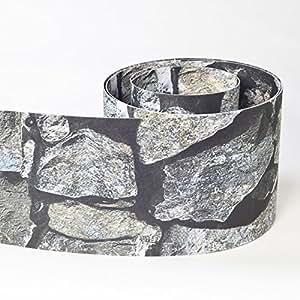 Videx Privacidad rayas impreso para vallas incl. Rieles de sujeción, piedra, B: 19cm, L: 2,60m