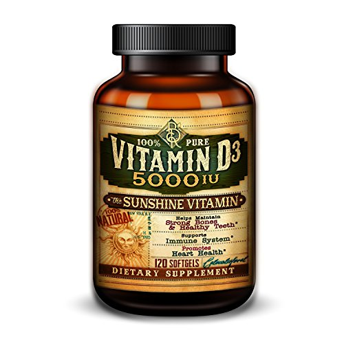 Vitamin D - 5,000 IU - The Sunshine Vitamin - Immune System Support & Heart Health - Strong Bones & Teeth - High Potency Vitamin D3-120 Softgels