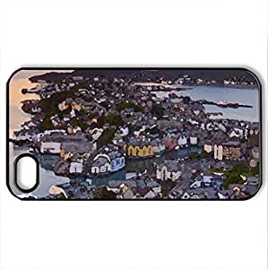 beautiful scandanavian city - Case Cover for iPhone 4 and 4s (Houses Series, Watercolor style, Black)