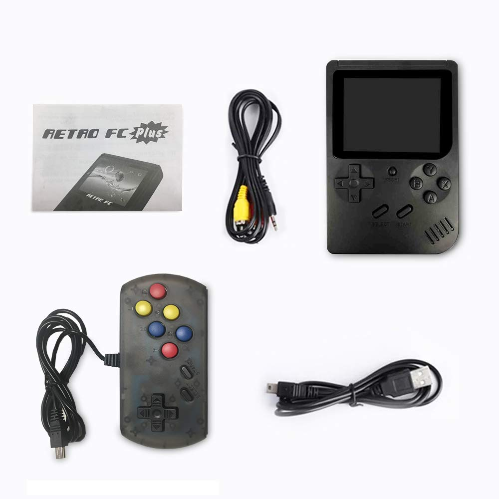 wanjiaxinhui Handheld Game Console, Retro FC Game Console, Portable Video Game Console for Connecting TV and Two Players with 3 Inch LCD Screen 168 Classic Games (Black) by wanjiaxinhui (Image #7)