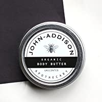 ORGANIC BODY BUTTER by JOHN ADDISON - Protects Against Dry Cracked Irritated Ashy Skin - Sooths Softens Hydrates - Prevents Stretch Marks - Add Essential Oils - Great For Massage - Unscented - 2oz
