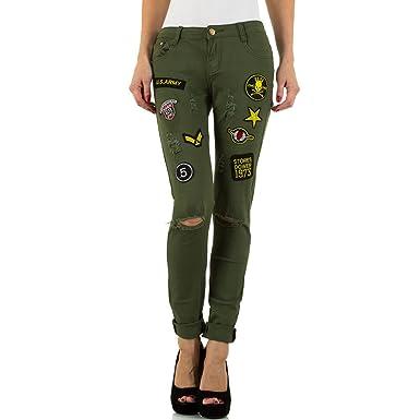 Destroyed Applikationen Skinny Jeans Für Damen , Grün In Gr. Xs bei Ital- Design
