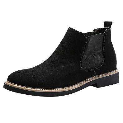 JOJONUNU Men Comfort Short Chelsea Boots Slip On Black Size 38 Asian