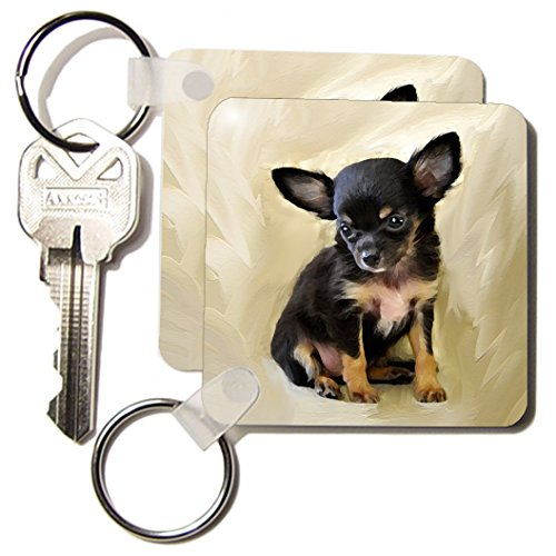 3dRose Chihuahua Puppy - Key Chains, 2.25 x 4.5 inches, set of 6 (kc_4467_3) ()