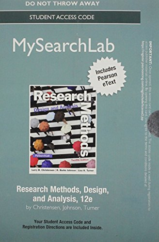 NEW MyLab Search with Pearson eText -- Standalone Access Card -- for Research Methods, Design, and Analysis (12th Edition) (Research Methods Design And Analysis 12th Edition)